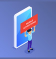 flat isometric mobile advertising concept man vector image vector image