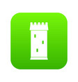 fortress tower icon digital green vector image vector image