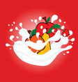 fruit in milk on red background vector image vector image