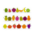 funny fruits character set for your design vector image vector image