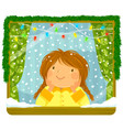 girl looking at snow through the window vector image vector image
