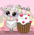 greeting card cute sheep with cake vector image