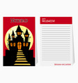 halloween notepad with castle and text vector image