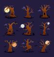 halloween tree scary character treetops vector image