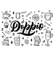 hand lettering name of coffee with sketch for vector image vector image