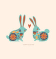 happy easter cute folk rabbit cartoon card vector image vector image