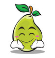 happy face pear character cartoon vector image