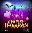 Happy halloween gold lettering castle with ghosts vector image vector image