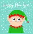 happy new year santa claus elf head face icon vector image vector image