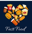 I love fast food flat icons in heart shape vector image