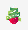 merry christmas red christmas ball with green vector image vector image