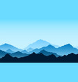 mountains view in blue colors travel and tourism vector image