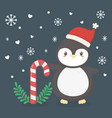 penguin with hat and cany cane celebration merry vector image vector image