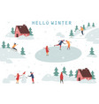 people skiing and making snowman winter activity vector image
