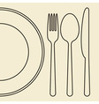 Plate knife fork and spoon vector image