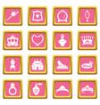 princess doll icons set pink square vector image vector image