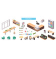 realistic isometric cafe set vector image