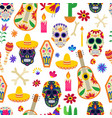 seamless pattern for day dead with skulls vector image vector image