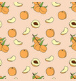 seamless pattern of peach in cartoon style vector image
