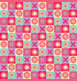 seamless pattern with funny cartoon flowers and vector image vector image