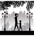silhouette woman and child walking park twon vector image vector image