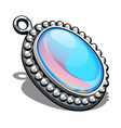 silver oval pendant with inlaid moonstone in the vector image