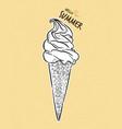 soft serve ice-cream cone hand draw sketch vector image vector image