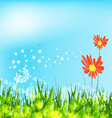 spring is coming with sunflowers and dandelion vector image vector image