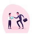 two businessmen using mobile app smartphone screen vector image vector image