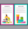 two cosmetic skin care posters cute glitter vials vector image vector image