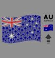 waving australia flag pattern arrow pointer vector image vector image
