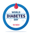 world diabetes day banner or flyer with diabetes vector image vector image