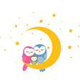 owl family sleep on the moon background vector image