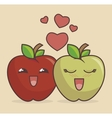 apple fruit character icon vector image vector image
