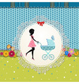 Baby Pram Card vector image vector image