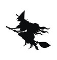 black silhouette a witch flying on a broomstick vector image vector image