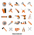 Buildings tools icons set Flat design symbols vector image vector image