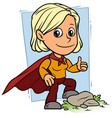 cartoon girl character in red superhero cape vector image vector image