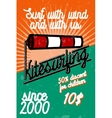 Color vintage kitesurfing banner vector image