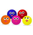 colorful baby balls with smiley face on white vector image vector image