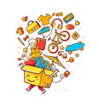 colorful of yellow smile character shopping vector image