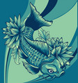 composition with flowers and koi carps vector image vector image
