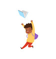 cute african american boy jumping with book vector image