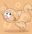 cute brown cat standing on brown background - vector image vector image