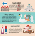 finland banner set with finnish sights features vector image vector image