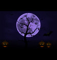halloween background with tree full moon and pump vector image vector image