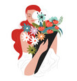 happy female character holding bouquet in hands vector image vector image