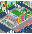 Isometric Kindergarten with Playground vector image vector image