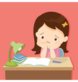little cute girl bored homework vector image vector image