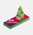 merry christmas isometric christmas tree 3d icon vector image vector image